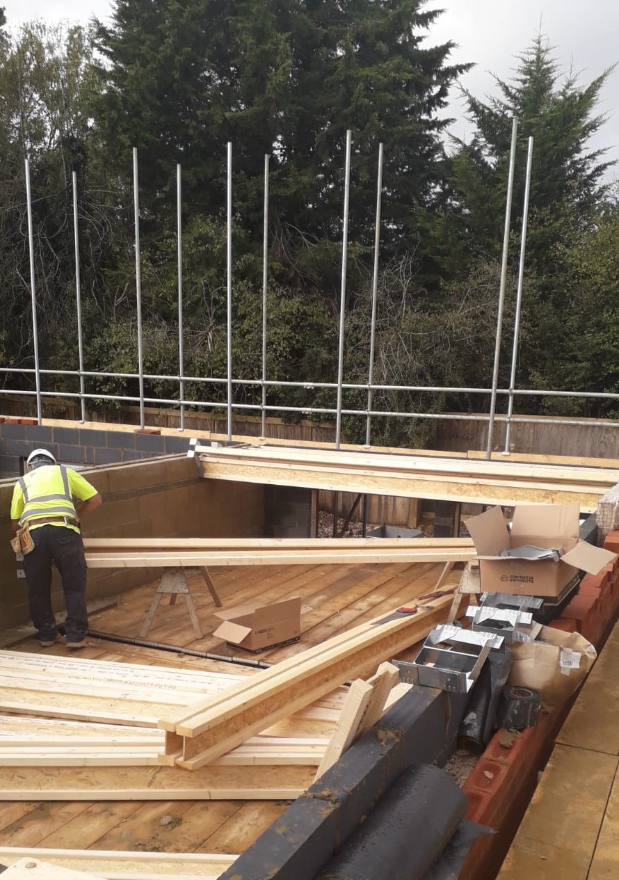 Joists site installation with masonry hangers